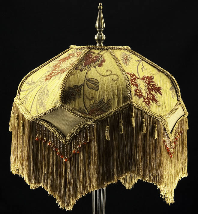 Victorian Lamp Shade Heavy Embroidered Fabric W Gold Silk