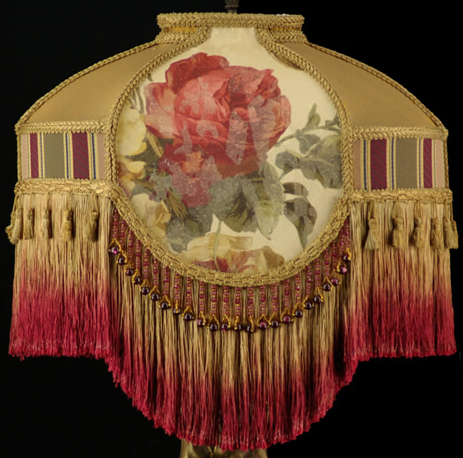 Victorian Lamp Shade Croscill Roses Fabric With Gold Silk Burgundy Beads Fringe