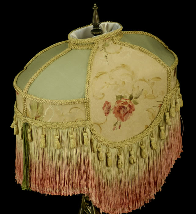 Victorian Shabby Chic Lampshade Serene Pink Roses Sage
