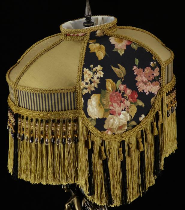 Victorian Lamp Shade Waverly Black Gold Silk Fabric Ebay