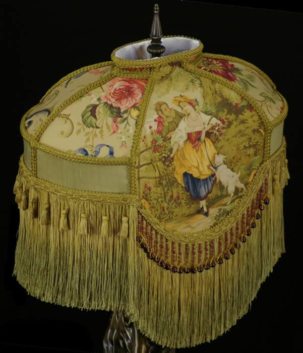 Victorian Lamp Shade Fragonard Fabric Gold Silk Beads Ebay
