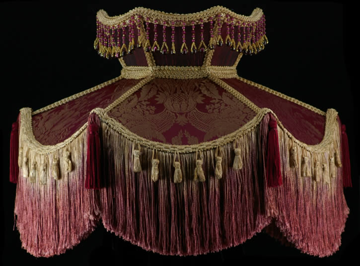 Victorian Lamp Shade Taupe Beaded Antique Red Fabric Ebay