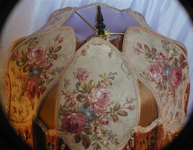 Victorian Floor Lamp Shade Croscill Fabric Fringed Bead