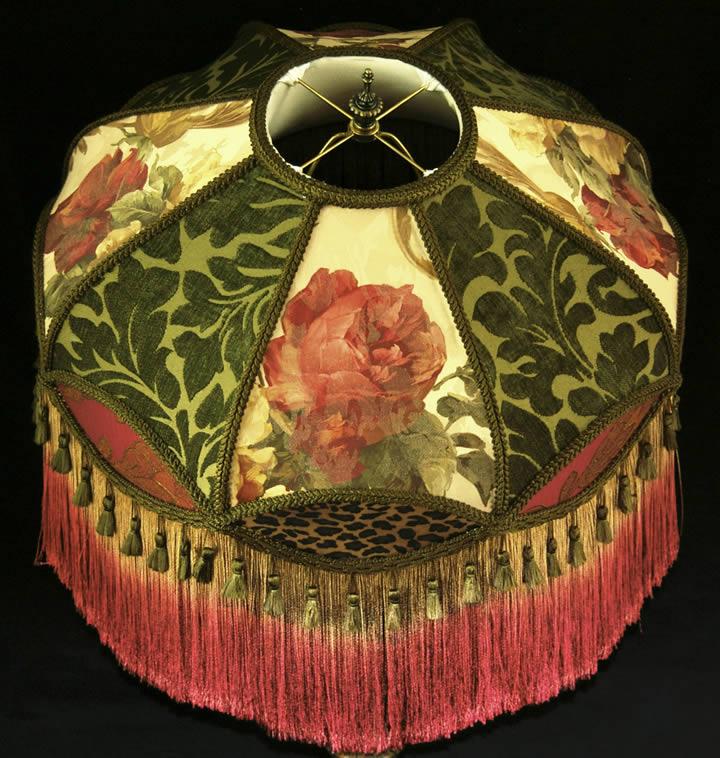 Victorian Floor Lampshade Fringe Gold Burgundy Sage Chenille Leopard Fabric Rose Ebay