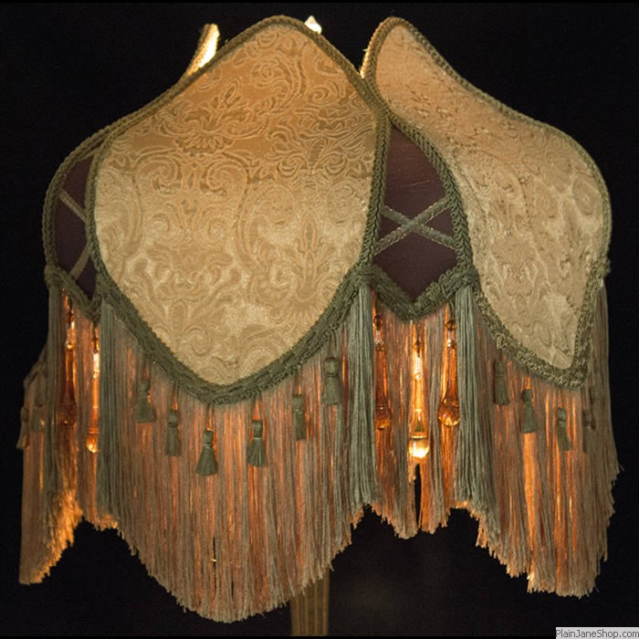 Plain jane shop victorian floor lampshade tc11 madison in embossed gold fabric with dark brown silk gold fringe and beads aloadofball Image collections